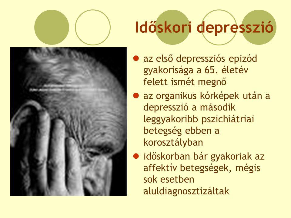 Időskori depresszió az első depressziós epizód gyakorisága a 65. életév felett ismét megnő az organikus kórképek után a depresszió a második leggyakor