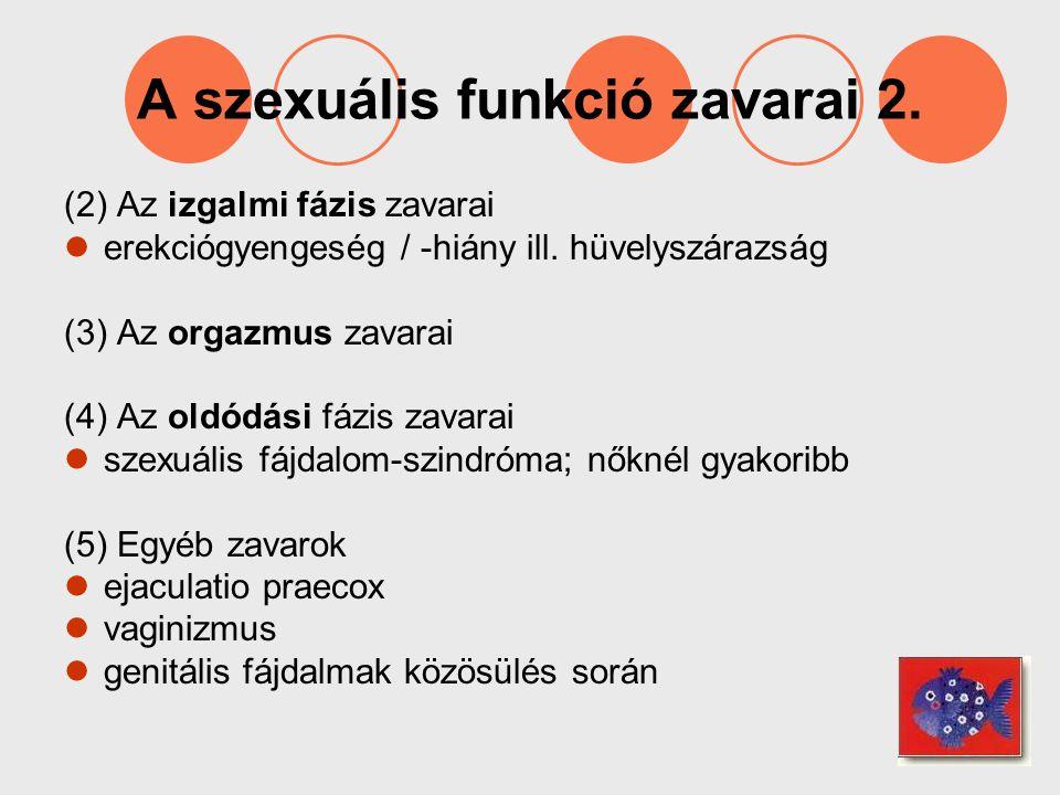 A szexuális funkció zavarai 2. (2) Az izgalmi fázis zavarai erekciógyengeség / -hiány ill. hüvelyszárazság (3) Az orgazmus zavarai (4) Az oldódási fáz