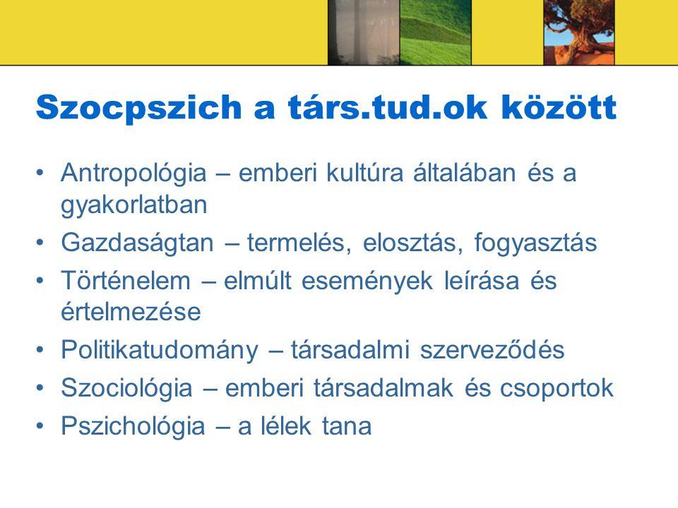 Szocpszich a társ.tud.ok között Antropológia – emberi kultúra általában és a gyakorlatban Gazdaságtan – termelés, elosztás, fogyasztás Történelem – el