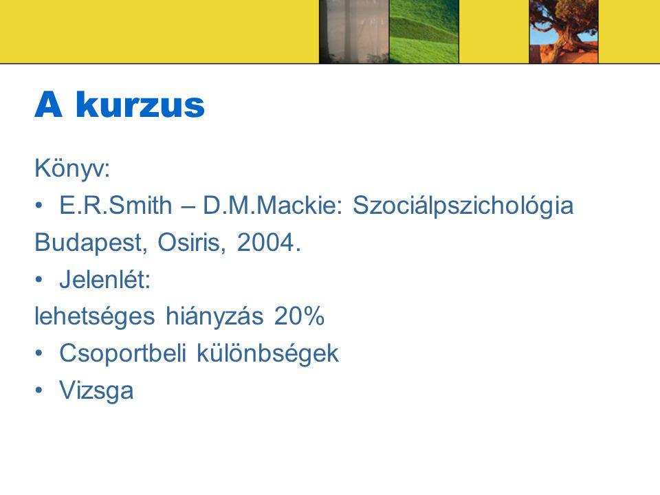 A kurzus Könyv: E.R.Smith – D.M.Mackie: Szociálpszichológia Budapest, Osiris, 2004. Jelenlét: lehetséges hiányzás 20% Csoportbeli különbségek Vizsga