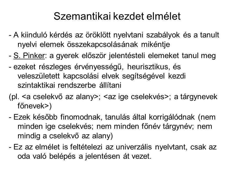Szemantikai kezdet elmélet - A kiinduló kérdés az öröklött nyelvtani szabályok és a tanult nyelvi elemek összekapcsolásának mikéntje - S. Pinker: a gy