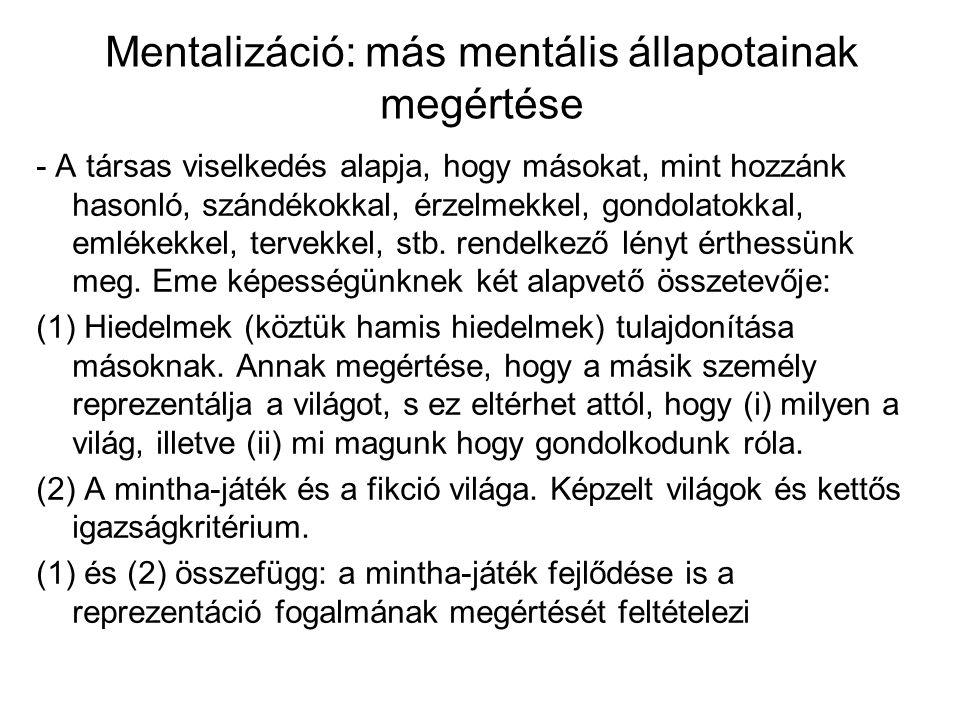 Mentalizáció: más mentális állapotainak megértése - A társas viselkedés alapja, hogy másokat, mint hozzánk hasonló, szándékokkal, érzelmekkel, gondola