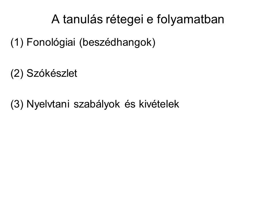 A tanulás rétegei e folyamatban (1) Fonológiai (beszédhangok) (2) Szókészlet (3) Nyelvtani szabályok és kivételek