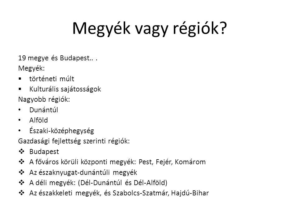 Megyék vagy régiók.19 megye és Budapest...