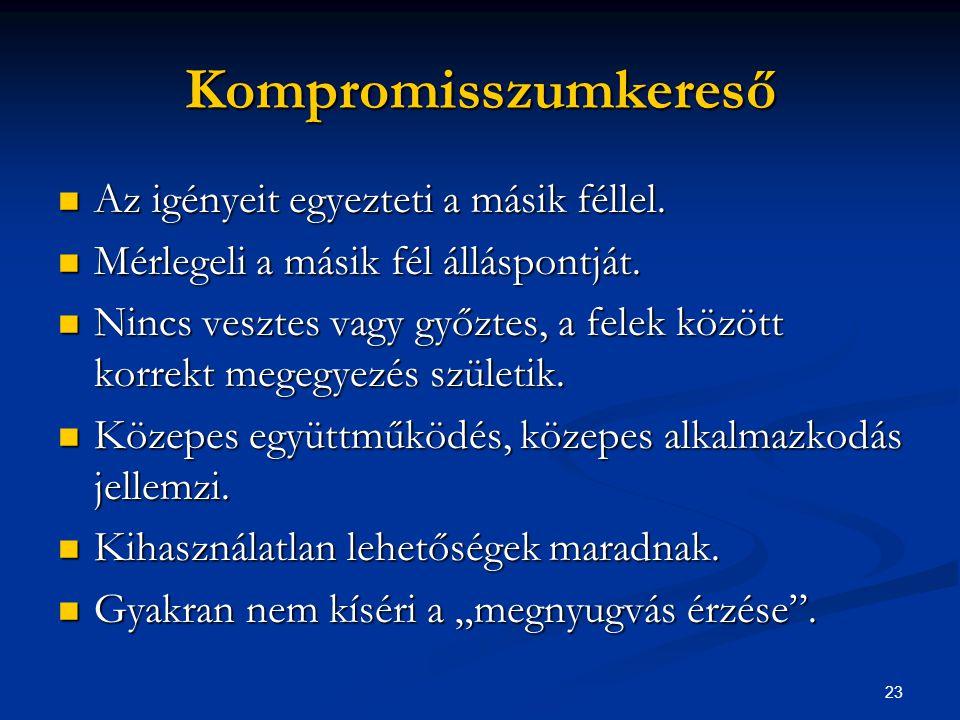 23 Kompromisszumkereső Az igényeit egyezteti a másik féllel. Az igényeit egyezteti a másik féllel. Mérlegeli a másik fél álláspontját. Mérlegeli a más