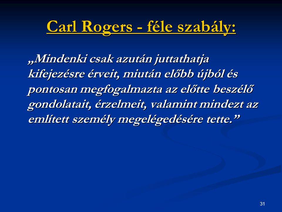 """31 Carl Rogers - féle szabály: """"Mindenki csak azután juttathatja kifejezésre érveit, miután előbb újból és pontosan megfogalmazta az előtte beszélő go"""