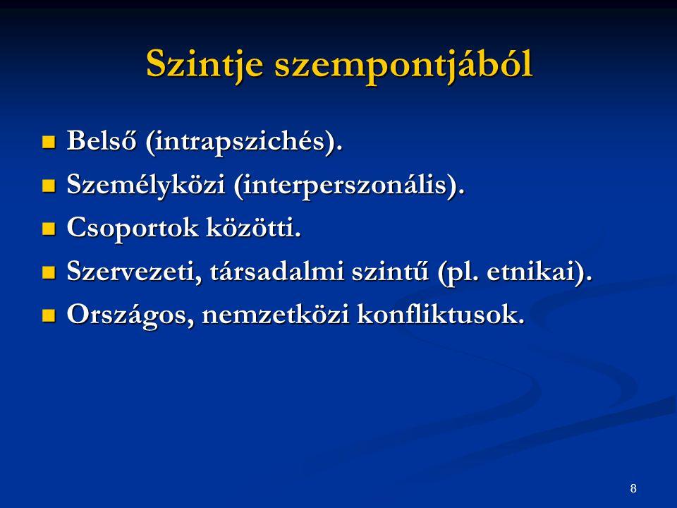 9 Kimenetel szempontjából lehet Destruktív: érzelmileg telített helyzetet, védekező, blokkoló magatartást eredményeznek.