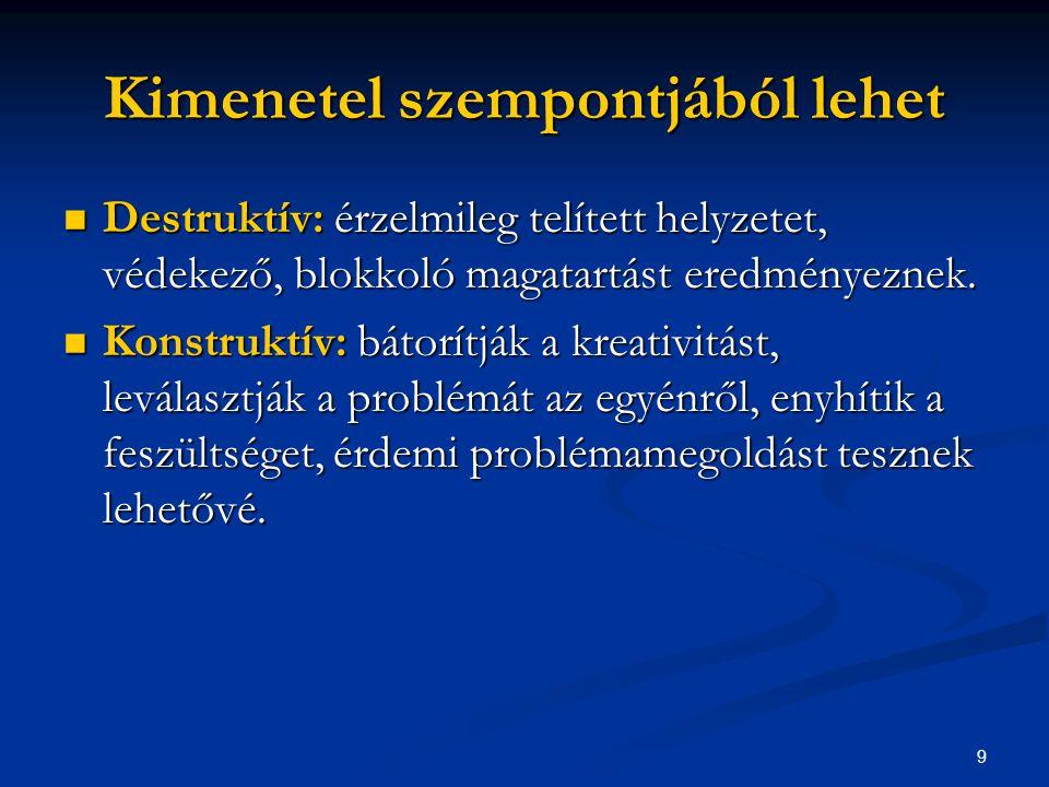 9 Kimenetel szempontjából lehet Destruktív: érzelmileg telített helyzetet, védekező, blokkoló magatartást eredményeznek. Destruktív: érzelmileg telíte