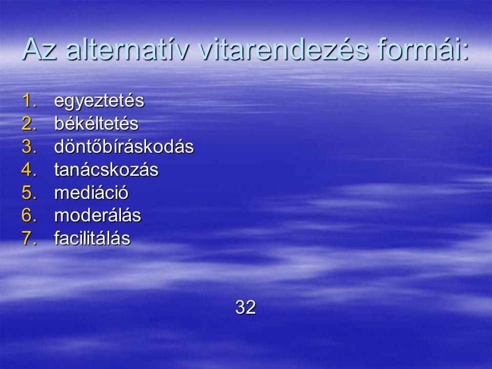 Az alternatív vitarendezés formái: 1.egyeztetés 2.békéltetés 3.döntőbíráskodás 4.tanácskozás 5.mediáció 6.moderálás 7.facilitálás 32