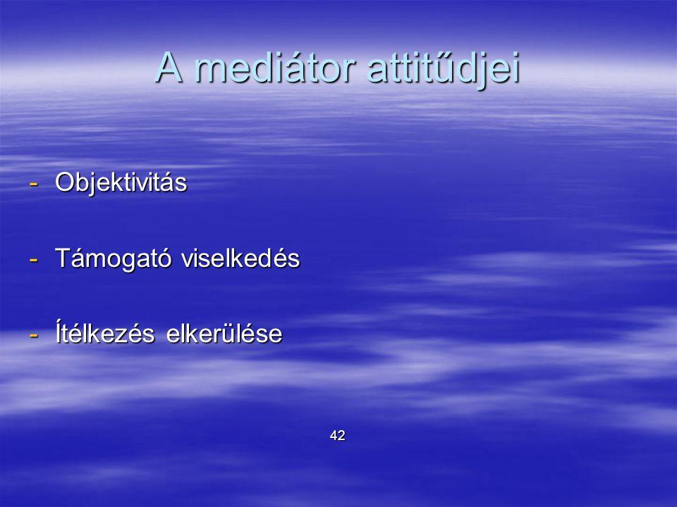A mediátor attitűdjei -Objektivitás -Támogató viselkedés -Ítélkezés elkerülése 42