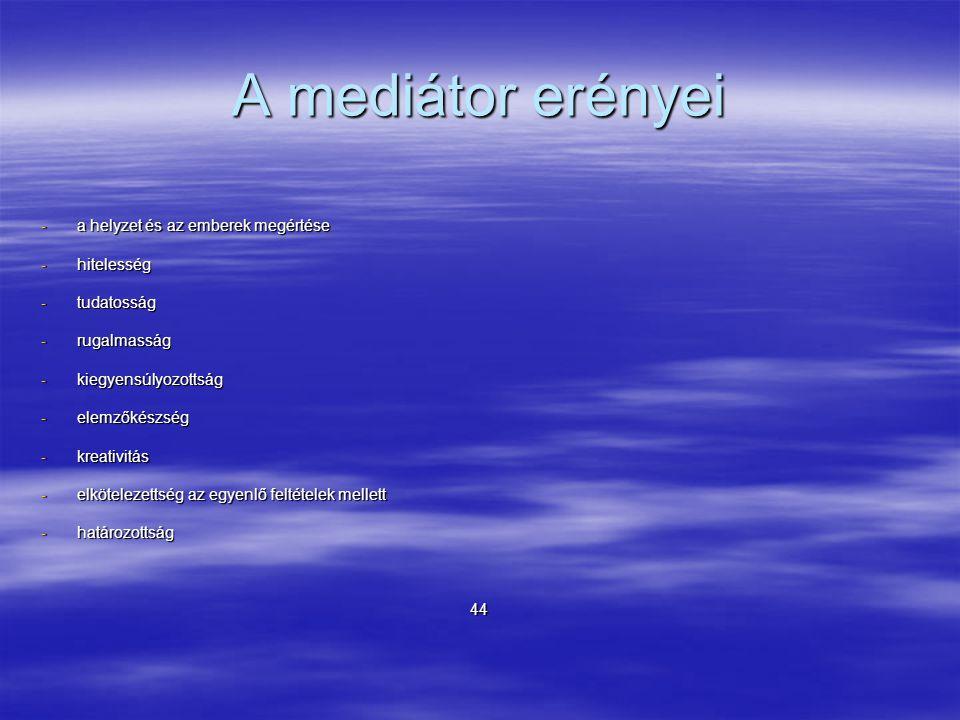 A mediátor erényei -a helyzet és az emberek megértése -hitelesség -tudatosság -rugalmasság -kiegyensúlyozottság -elemzőkészség -kreativitás -elkötelezettség az egyenlő feltételek mellett -határozottság 44