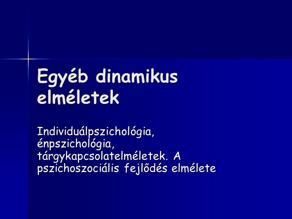 Egyéb dinamikus elméletek Individuálpszichológia, énpszichológia, tárgykapcsolatelméletek.
