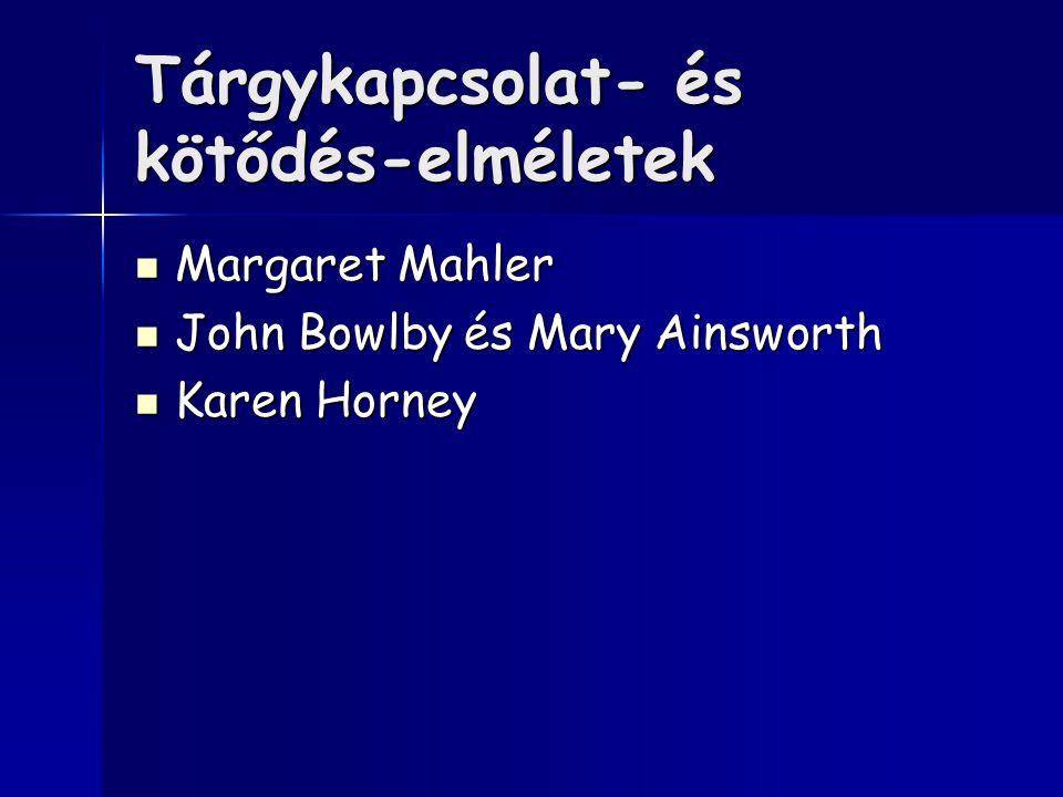 Tárgykapcsolat- és kötődés-elméletek Margaret Mahler Margaret Mahler John Bowlby és Mary Ainsworth John Bowlby és Mary Ainsworth Karen Horney Karen Horney