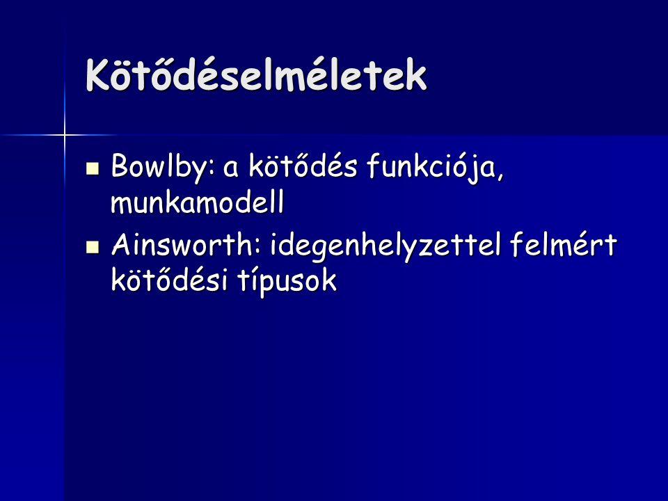 Kötődéselméletek Bowlby: a kötődés funkciója, munkamodell Bowlby: a kötődés funkciója, munkamodell Ainsworth: idegenhelyzettel felmért kötődési típusok Ainsworth: idegenhelyzettel felmért kötődési típusok