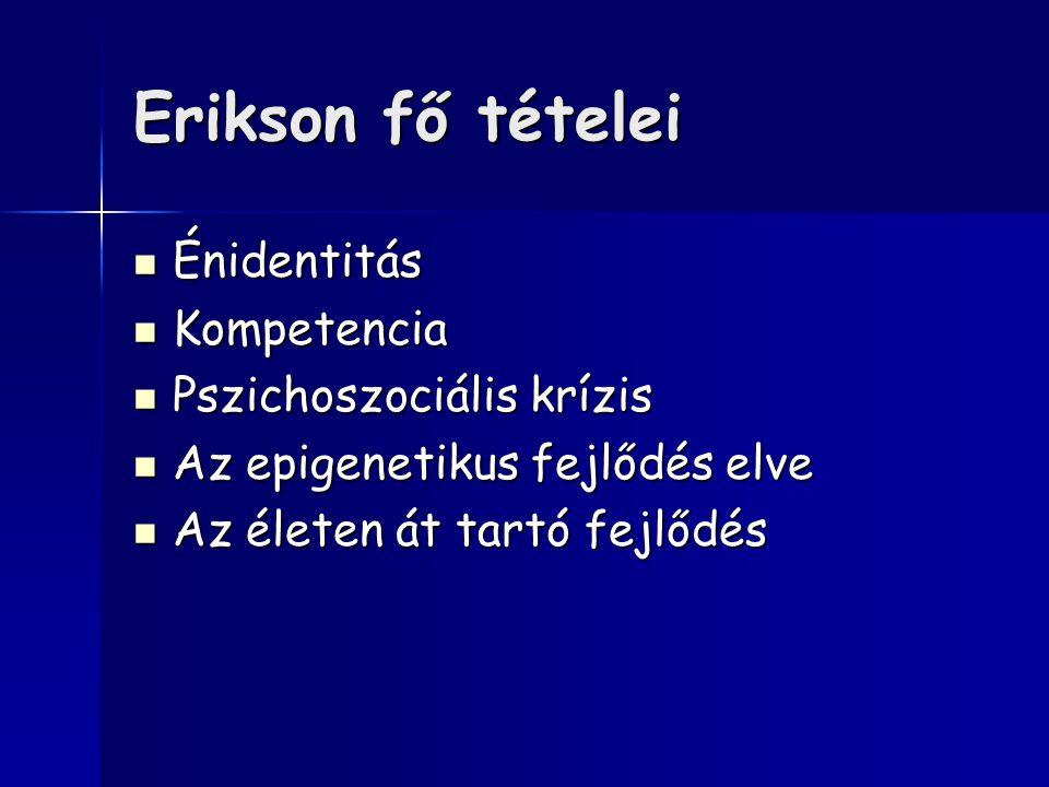 Erikson fő tételei Énidentitás Énidentitás Kompetencia Kompetencia Pszichoszociális krízis Pszichoszociális krízis Az epigenetikus fejlődés elve Az epigenetikus fejlődés elve Az életen át tartó fejlődés Az életen át tartó fejlődés