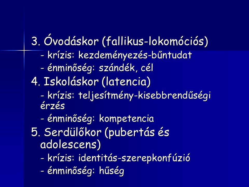 3.Óvodáskor (fallikus-lokomóciós) - krízis: kezdeményezés-bűntudat - énminőség: szándék, cél 4.