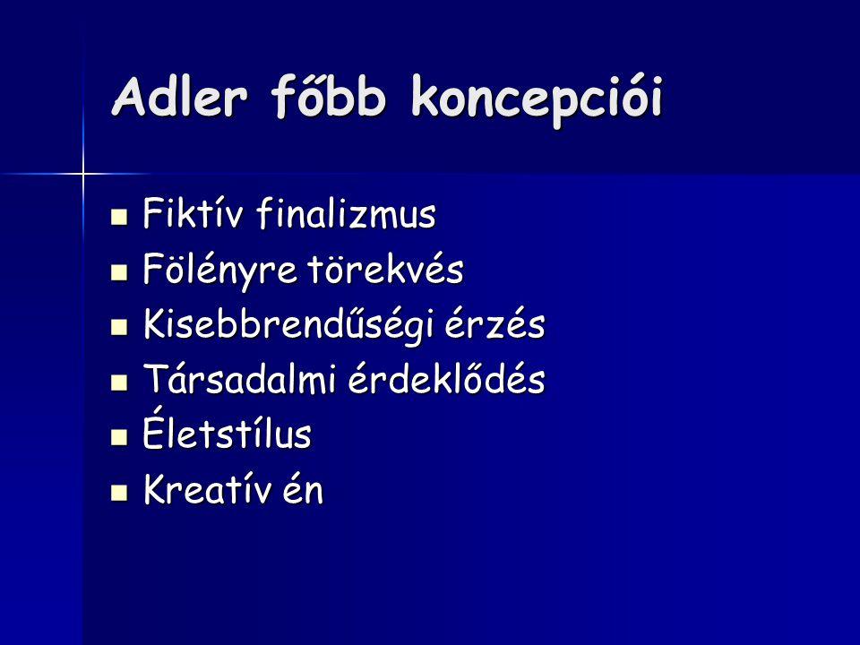 Adler főbb koncepciói Fiktív finalizmus Fiktív finalizmus Fölényre törekvés Fölényre törekvés Kisebbrendűségi érzés Kisebbrendűségi érzés Társadalmi érdeklődés Társadalmi érdeklődés Életstílus Életstílus Kreatív én Kreatív én