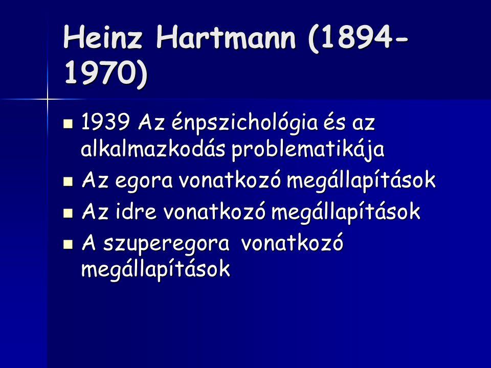 Heinz Hartmann (1894- 1970) 1939 Az énpszichológia és az alkalmazkodás problematikája 1939 Az énpszichológia és az alkalmazkodás problematikája Az egora vonatkozó megállapítások Az egora vonatkozó megállapítások Az idre vonatkozó megállapítások Az idre vonatkozó megállapítások A szuperegora vonatkozó megállapítások A szuperegora vonatkozó megállapítások