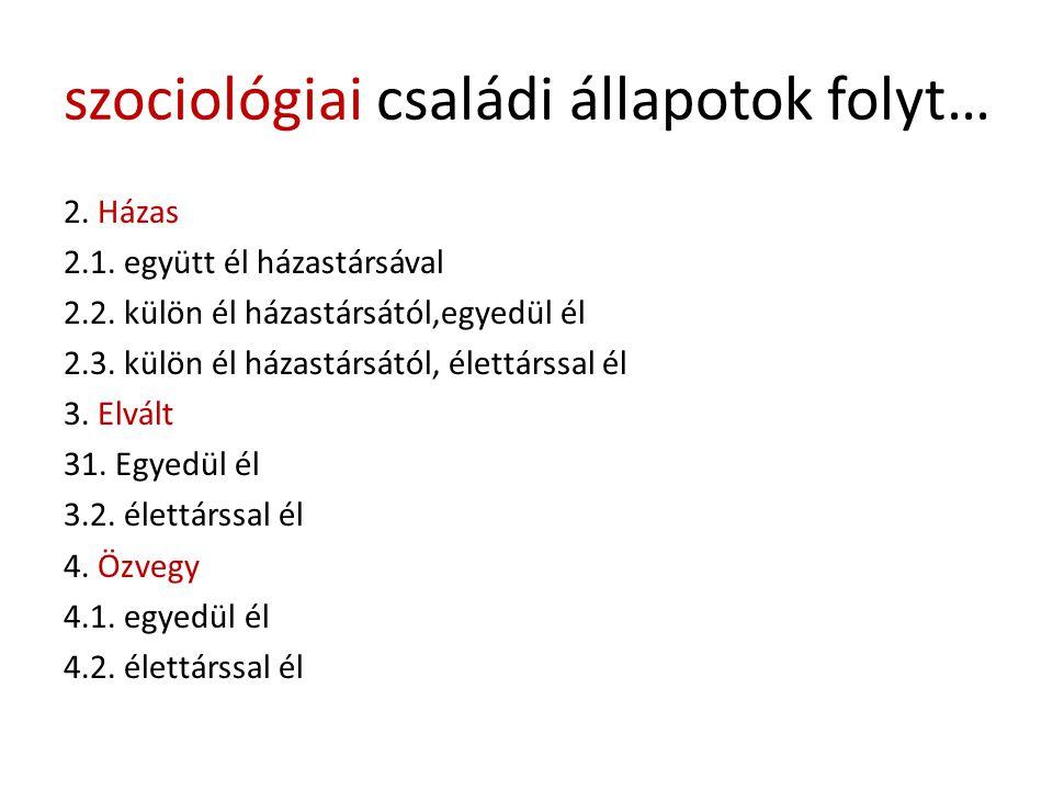szociológiai családi állapotok folyt… 2. Házas 2.1. együtt él házastársával 2.2. külön él házastársától,egyedül él 2.3. külön él házastársától, élettá