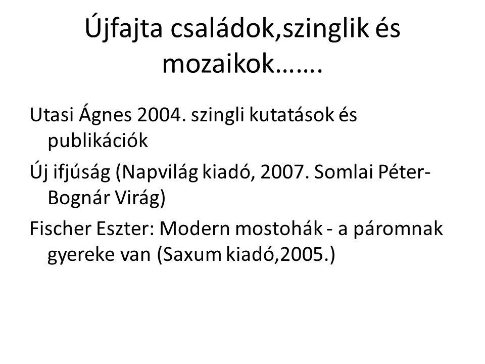 Újfajta családok,szinglik és mozaikok……. Utasi Ágnes 2004. szingli kutatások és publikációk Új ifjúság (Napvilág kiadó, 2007. Somlai Péter- Bognár Vir