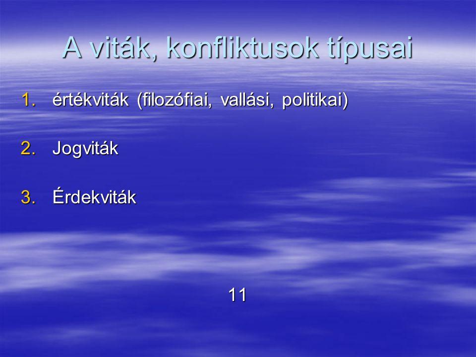 A viták, konfliktusok típusai 1.értékviták (filozófiai, vallási, politikai) 2.Jogviták 3.Érdekviták 11