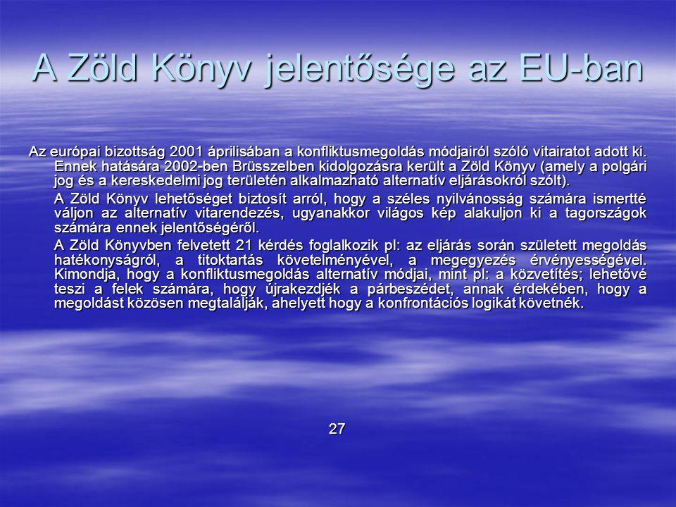 A Zöld Könyv jelentősége az EU-ban Az európai bizottság 2001 áprilisában a konfliktusmegoldás módjairól szóló vitairatot adott ki. Ennek hatására 2002