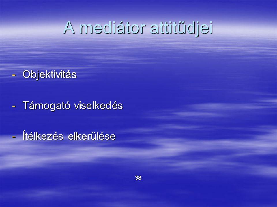 A mediátor attitűdjei -Objektivitás -Támogató viselkedés -Ítélkezés elkerülése 38