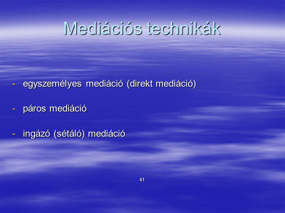 Mediációs technikák -egyszemélyes mediáció (direkt mediáció) -páros mediáció -ingázó (sétáló) mediáció 41