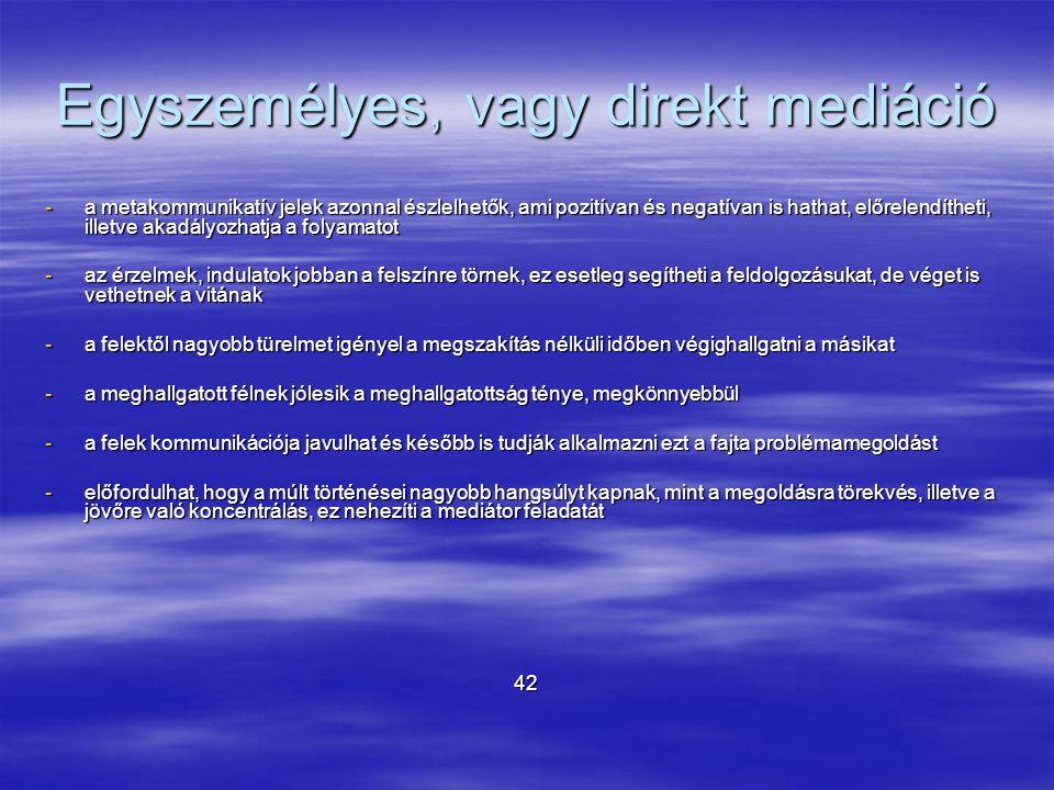 Egyszemélyes, vagy direkt mediáció -a metakommunikatív jelek azonnal észlelhetők, ami pozitívan és negatívan is hathat, előrelendítheti, illetve akadá