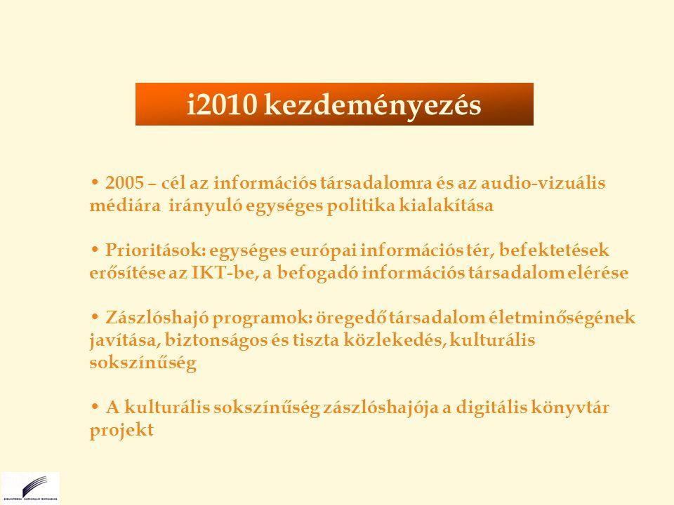 2005 – cél az információs társadalomra és az audio-vizuális médiára irányuló egységes politika kialakítása Prioritások: egységes európai információs tér, befektetések erősítése az IKT-be, a befogadó információs társadalom elérése Zászlóshajó programok: öregedő társadalom életminőségének javítása, biztonságos és tiszta közlekedés, kulturális sokszínűség A kulturális sokszínűség zászlóshajója a digitális könyvtár projekt i2010 kezdeményezés