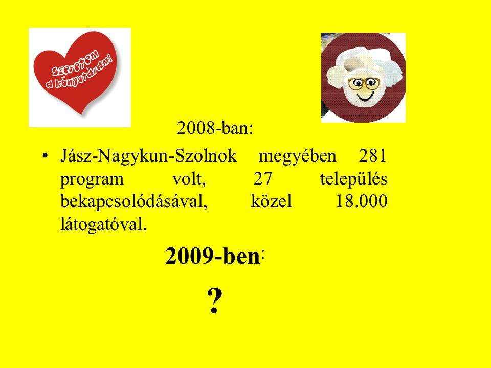 2008-ban: Jász-Nagykun-Szolnok megyében 281 program volt, 27 település bekapcsolódásával, közel 18.000 látogatóval.