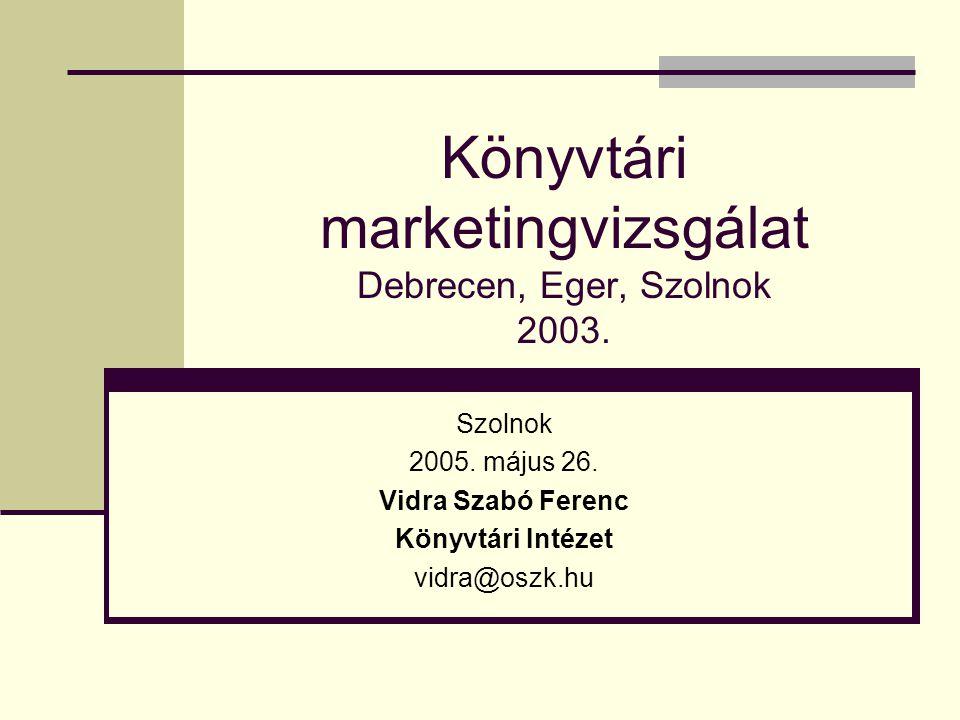 Könyvtári marketingvizsgálat Debrecen, Eger, Szolnok 2003.
