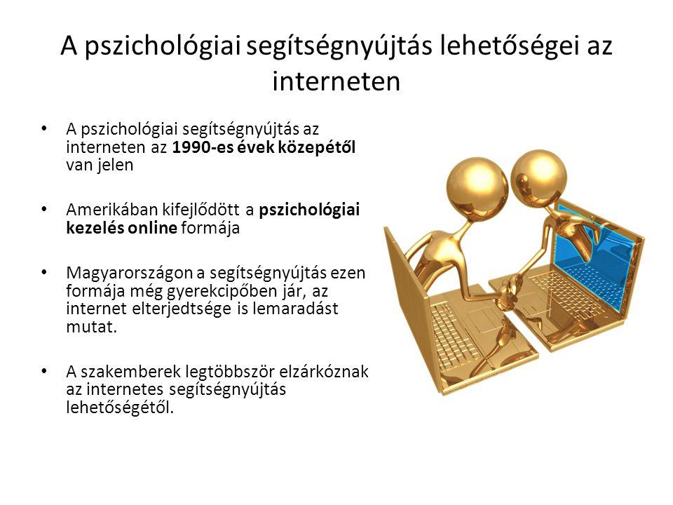A pszichológiai segítségnyújtás lehetőségei az interneten A pszichológiai segítségnyújtás az interneten az 1990-es évek közepétől van jelen Amerikában kifejlődött a pszichológiai kezelés online formája Magyarországon a segítségnyújtás ezen formája még gyerekcipőben jár, az internet elterjedtsége is lemaradást mutat.