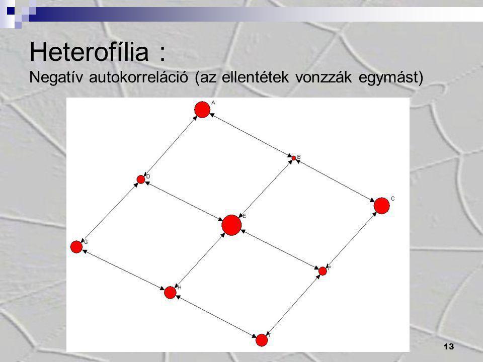 13 Heterofília : Negatív autokorreláció (az ellentétek vonzzák egymást)