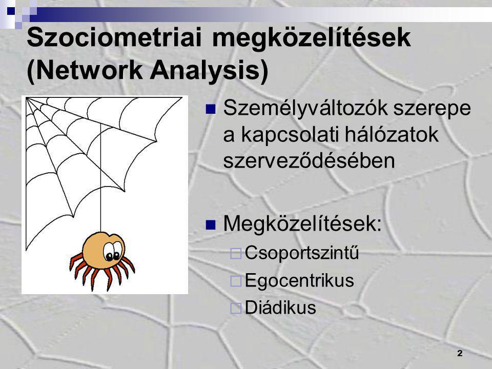 2 Személyváltozók szerepe a kapcsolati hálózatok szerveződésében Megközelítések:  Csoportszintű  Egocentrikus  Diádikus Szociometriai megközelítése
