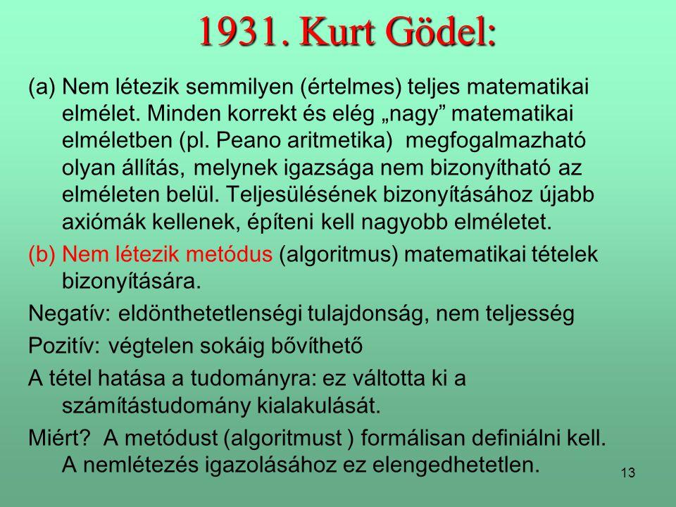 13 1931.Kurt Gödel: (a)Nem létezik semmilyen (értelmes) teljes matematikai elmélet.