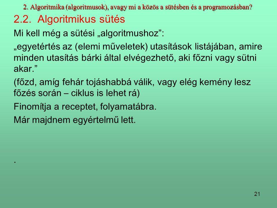 21 2.Algoritmika (algoritmusok), avagy mi a közös a sütésben és a programozásban.