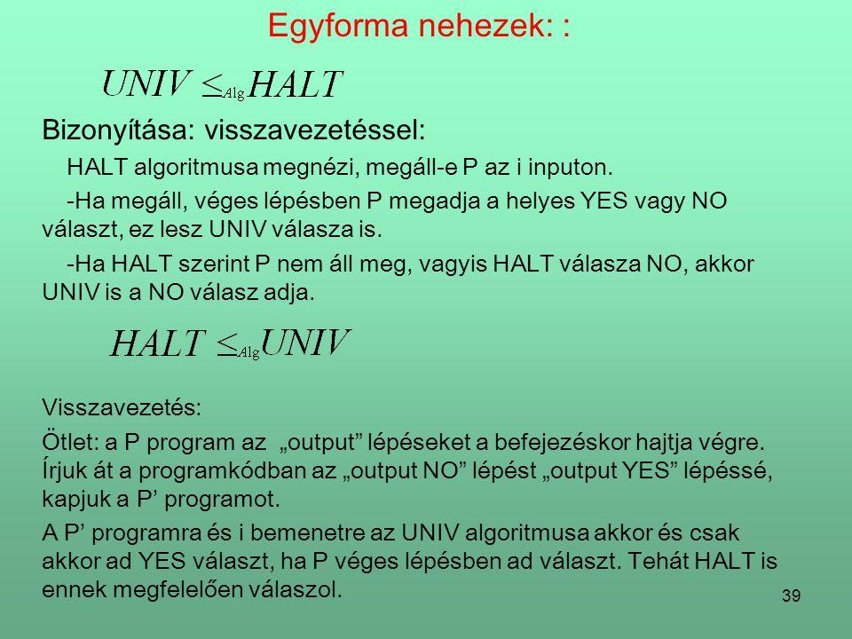 39 Egyforma nehezek: : Bizonyítása: visszavezetéssel: HALT algoritmusa megnézi, megáll-e P az i inputon.