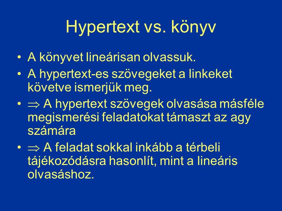Hypertext vs. könyv A könyvet lineárisan olvassuk. A hypertext-es szövegeket a linkeket követve ismerjük meg.  A hypertext szövegek olvasása másféle