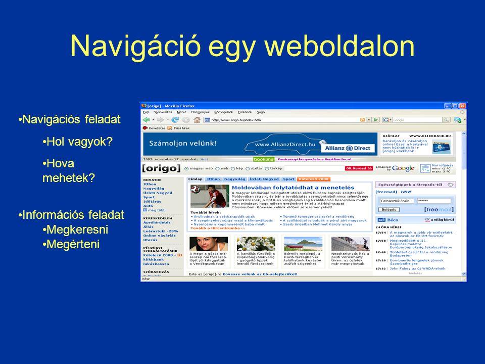 Navigáció egy weboldalon Navigációs feladat Hol vagyok? Hova mehetek? Információs feladat Megkeresni Megérteni