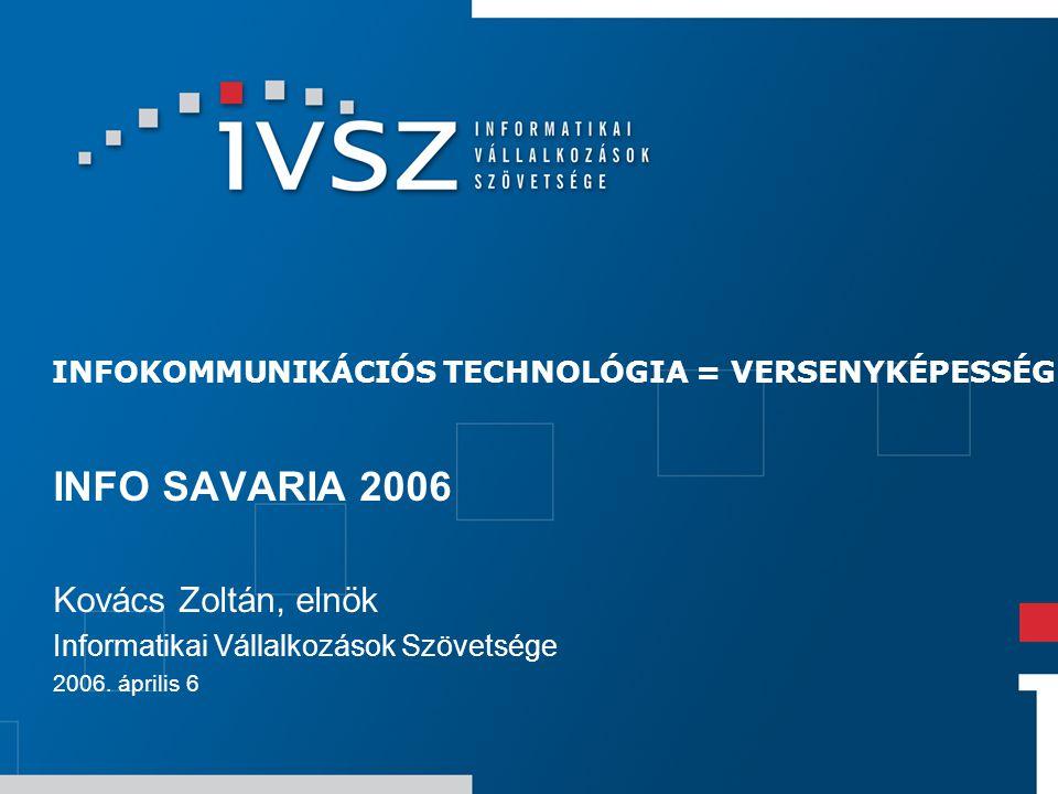 INFOKOMMUNIKÁCIÓS TECHNOLÓGIA = VERSENYKÉPESSÉG INFO SAVARIA 2006 Kovács Zoltán, elnök Informatikai Vállalkozások Szövetsége 2006. április 6