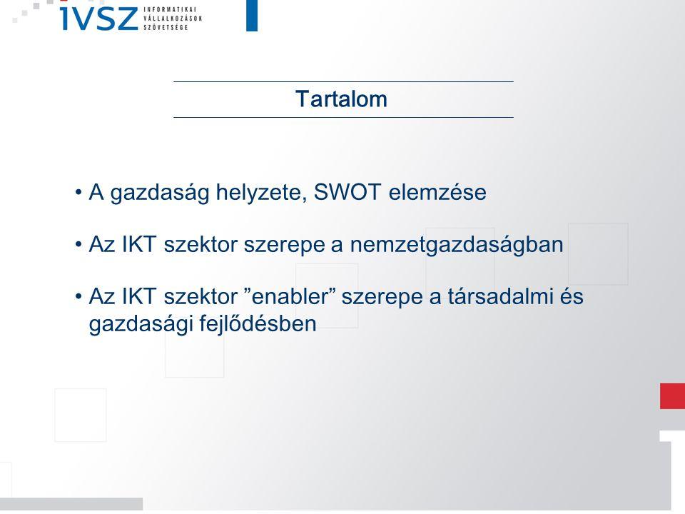 """A gazdaság helyzete, SWOT elemzése Az IKT szektor szerepe a nemzetgazdaságban Az IKT szektor """"enabler"""" szerepe a társadalmi és gazdasági fejlődésben T"""
