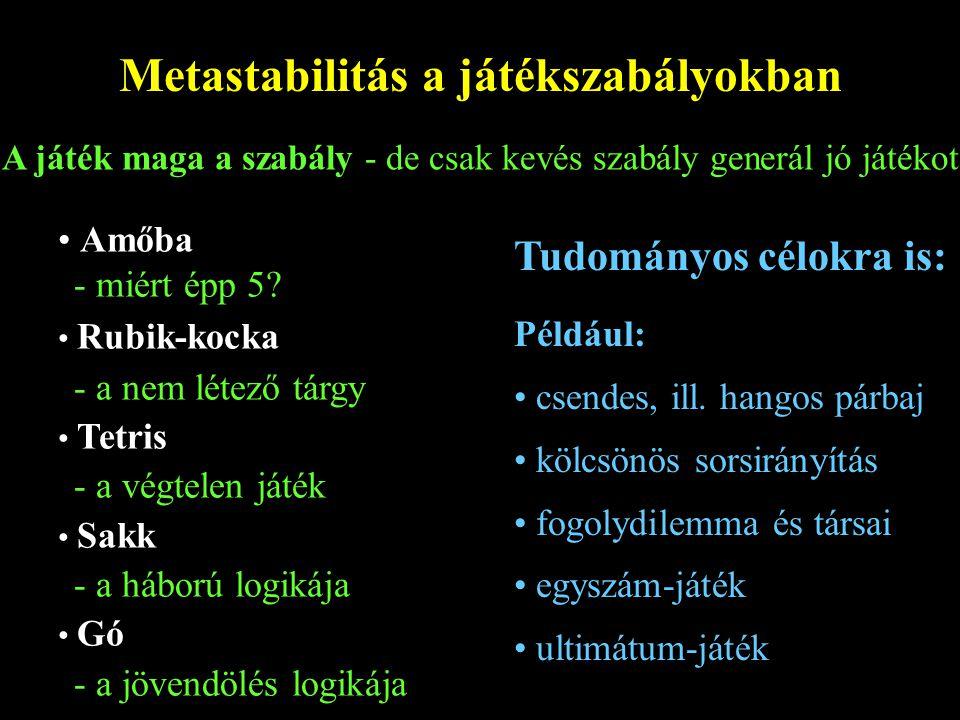 Metastabilitás a játékszabályokban A játék maga a szabály - de csak kevés szabály generál jó játékot Amőba - miért épp 5.