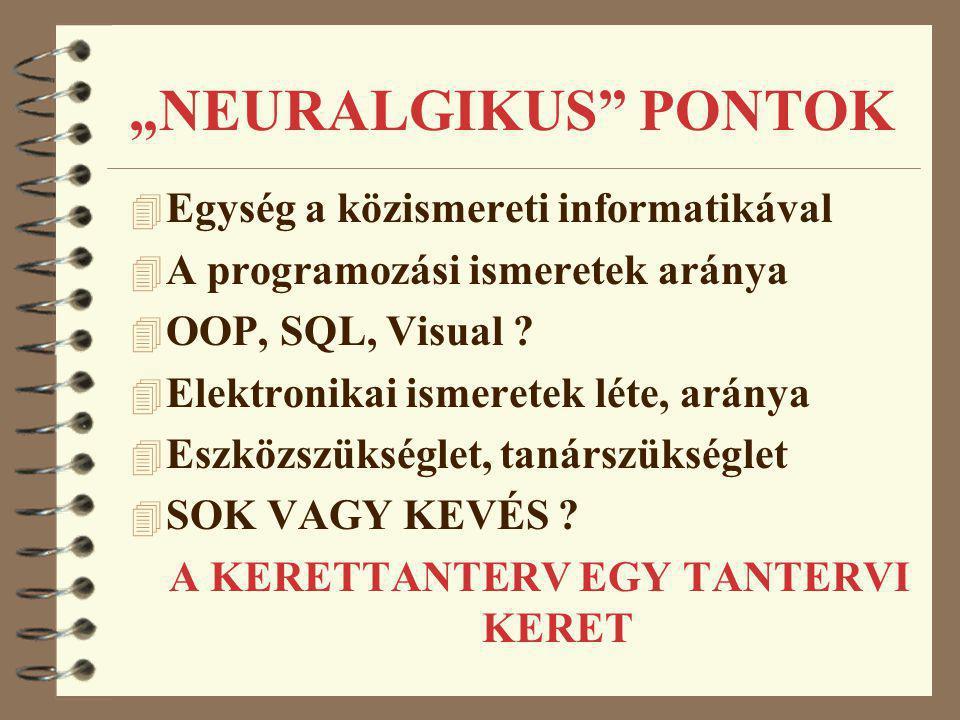 """""""NEURALGIKUS"""" PONTOK 4 Egység a közismereti informatikával 4 A programozási ismeretek aránya 4 OOP, SQL, Visual ? 4 Elektronikai ismeretek léte, arány"""