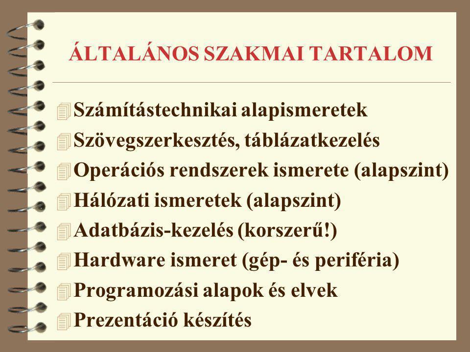 ÁLTALÁNOS SZAKMAI TARTALOM 4 Számítástechnikai alapismeretek 4 Szövegszerkesztés, táblázatkezelés 4 Operációs rendszerek ismerete (alapszint) 4 Hálóza