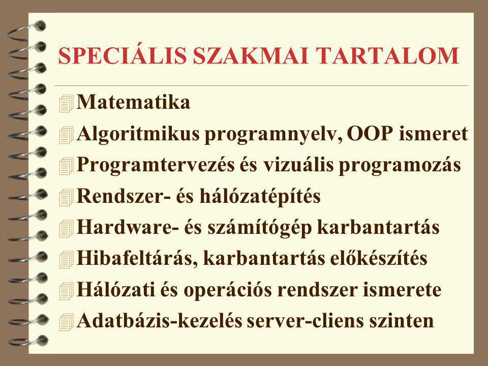 SPECIÁLIS SZAKMAI TARTALOM 4 Matematika 4 Algoritmikus programnyelv, OOP ismeret 4 Programtervezés és vizuális programozás 4 Rendszer- és hálózatépíté