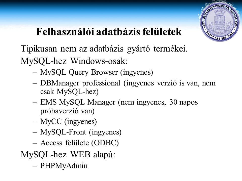 Felhasználói adatbázis felületek Tipikusan nem az adatbázis gyártó termékei. MySQL-hez Windows-osak: –MySQL Query Browser (ingyenes) –DBManager profes