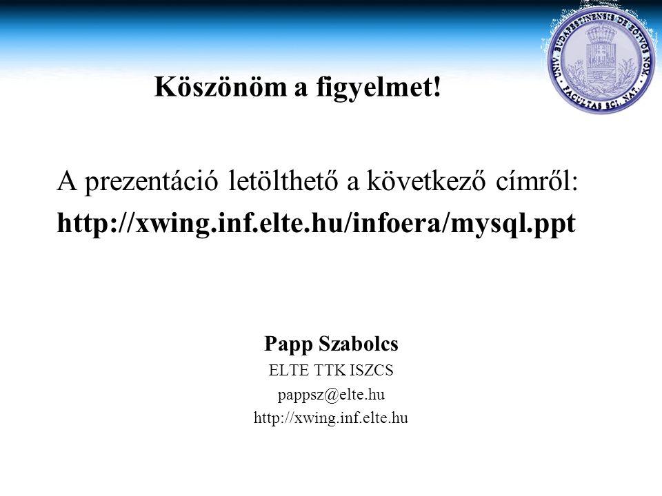 Köszönöm a figyelmet! A prezentáció letölthető a következő címről: http://xwing.inf.elte.hu/infoera/mysql.ppt Papp Szabolcs ELTE TTK ISZCS pappsz@elte