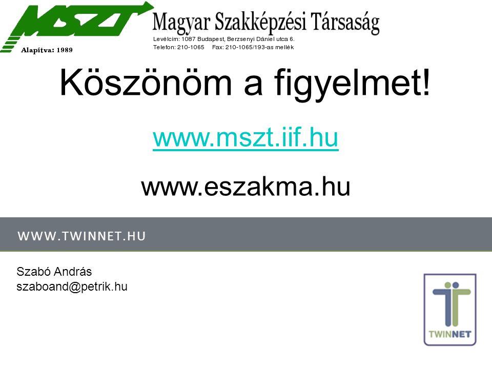 WWW.TWINNET.HU Szabó András szaboand@petrik.hu Köszönöm a figyelmet! www.mszt.iif.hu www.eszakma.hu