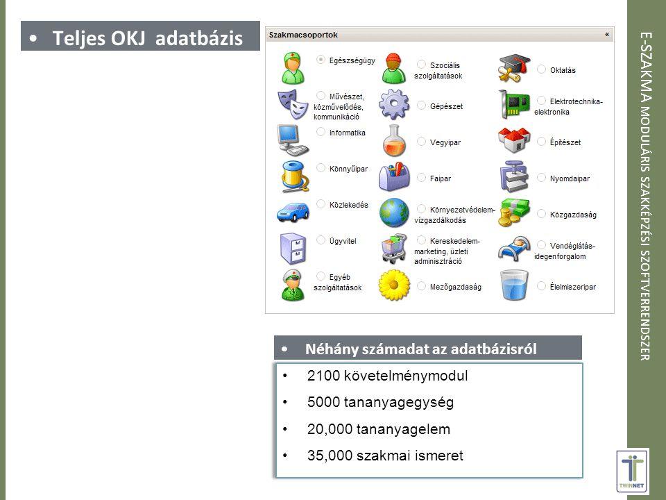 Teljes OKJ adatbázis Néhány számadat az adatbázisról